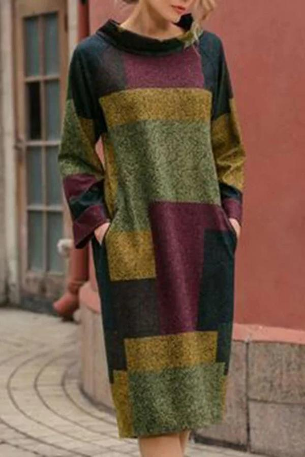 Color Block Side Pockets Midi Dress