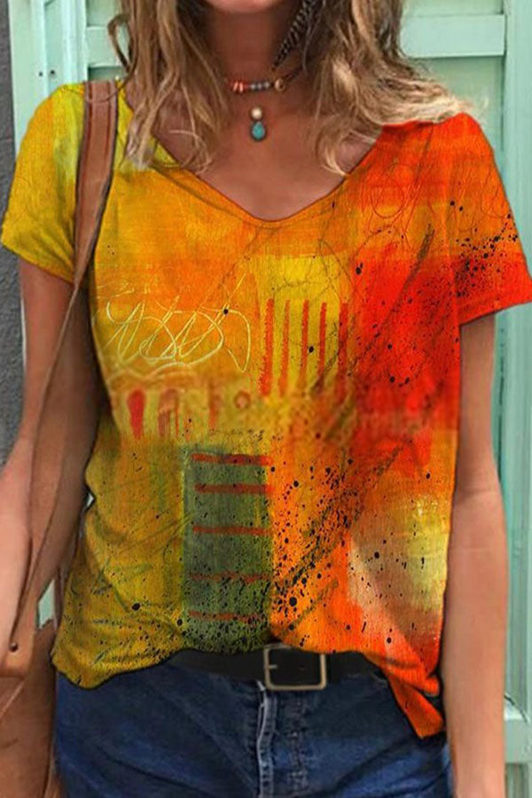 Aritistic Pink Floral Watercolor Painting Gradient Print Shift T-shirt