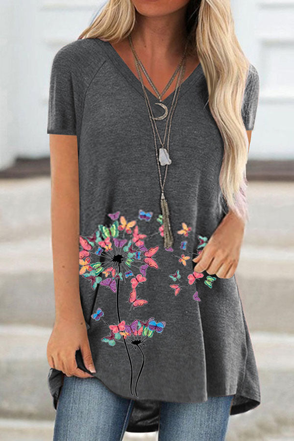 Colorful Butterfly And Dandelion Print V Neck Short Sleeve T-Shirt