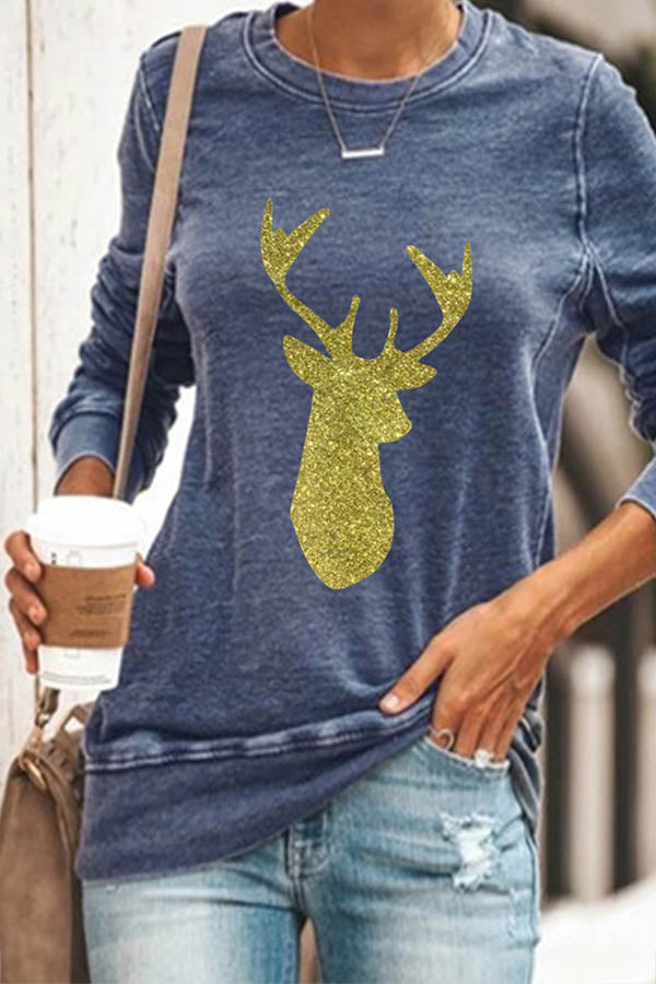 Christmas Elk Print Sheath Women Crew Neck T-shirt