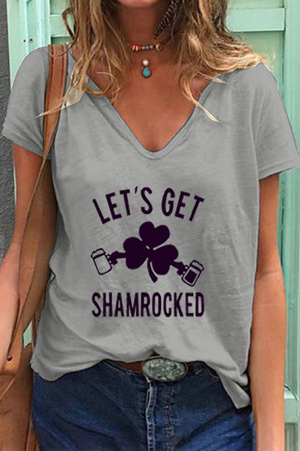 Let's Get Shamrock Letter With Clover And Bear Print V-Neck Short Sleeves T-Shirt