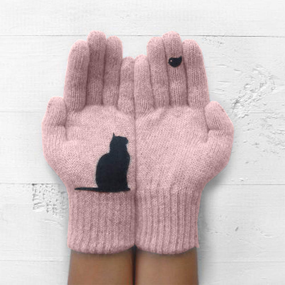 Women Little Black Cat With Bird Print Knitted Daily Warm Gloves