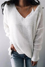 Solid V Neck Long Sleeve Sweaters