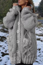 Solid Knitted Ribbed Tweed Buttons Down Holiday Cardigan