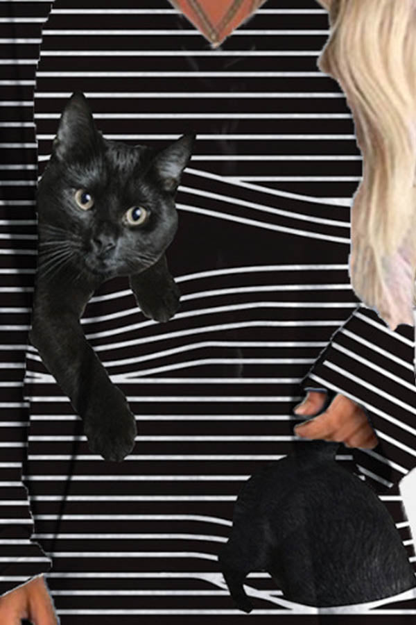 Black Cat And Striped Print Raglan Sleeves V-neck Lively T-shirt