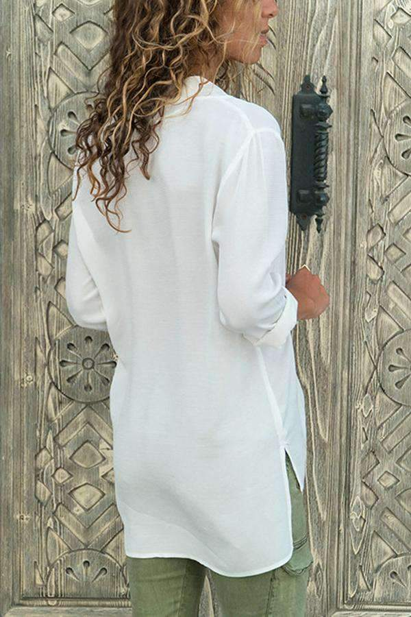 V-neck Long Sleeves Chiffon Blouse
