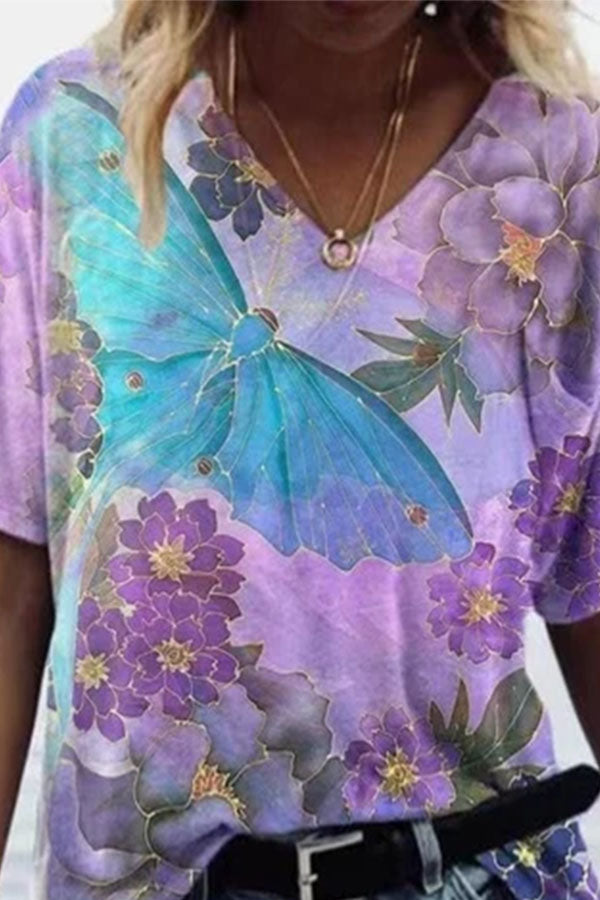 Literary Blue Butterfly With Purple Floral Painting Print Women T-shirt
