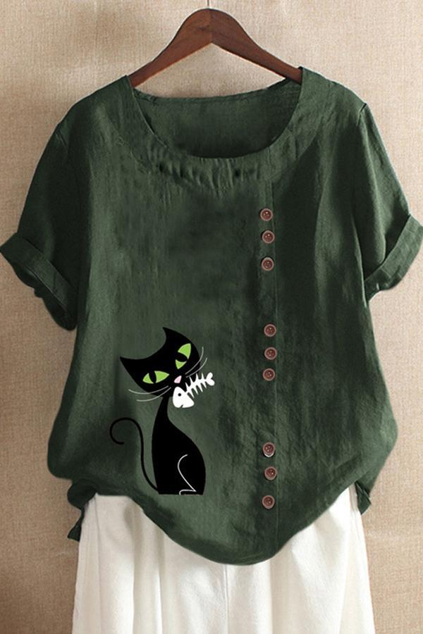 Cat Print Buttoned Round Neck Linen T-shirts