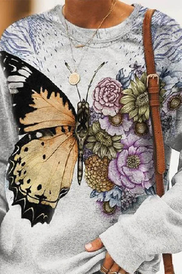 Vintage Artistic Lifelike Butterfly Floral Print T-shirt