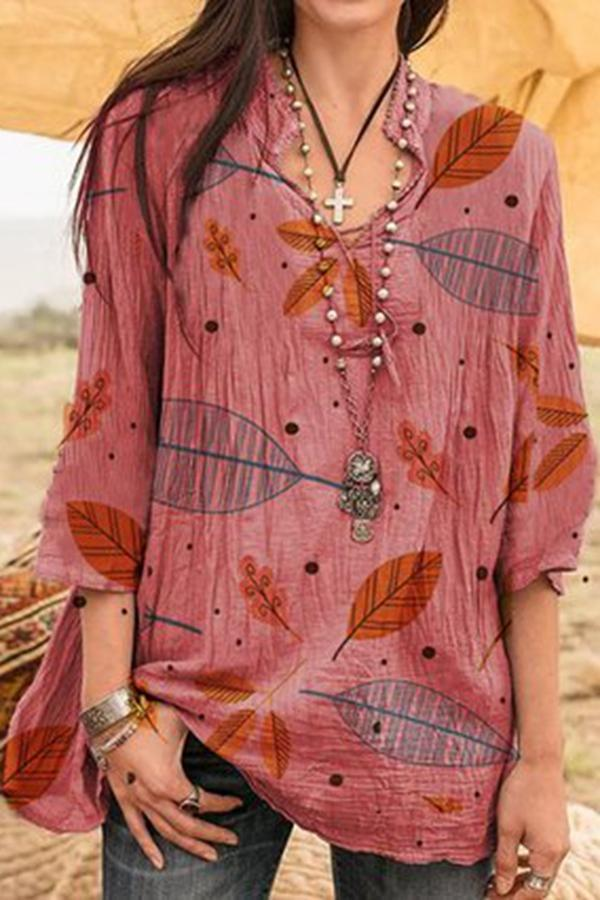 Leaf Print 3/4 Sleeves V Neck Blouses