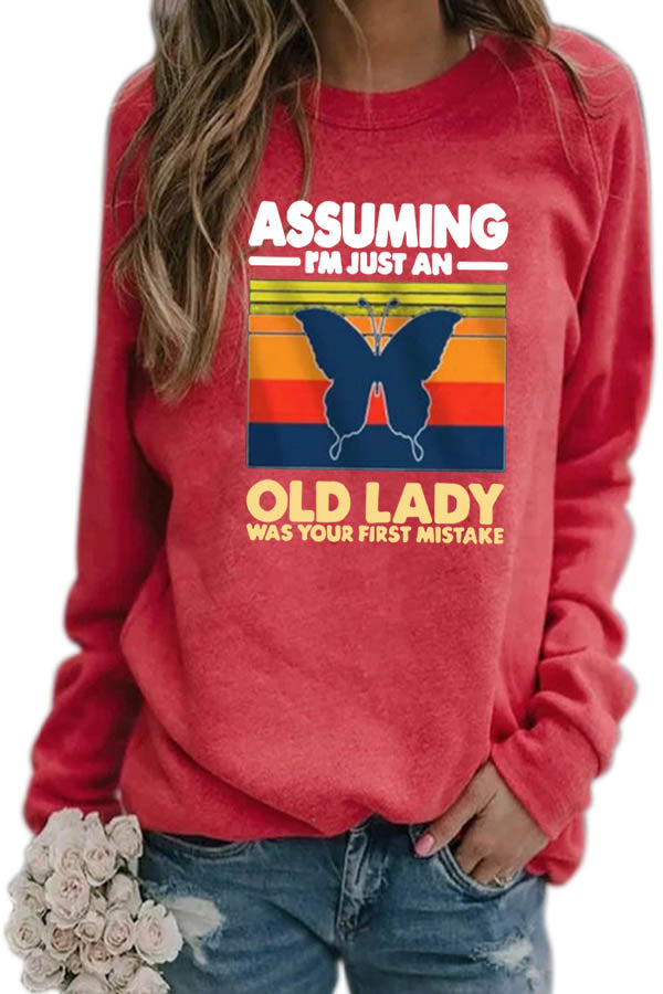 Assuming Im Just An Old Lady Was Your First Mistake Letter Striped Butterfly Print T-shirt