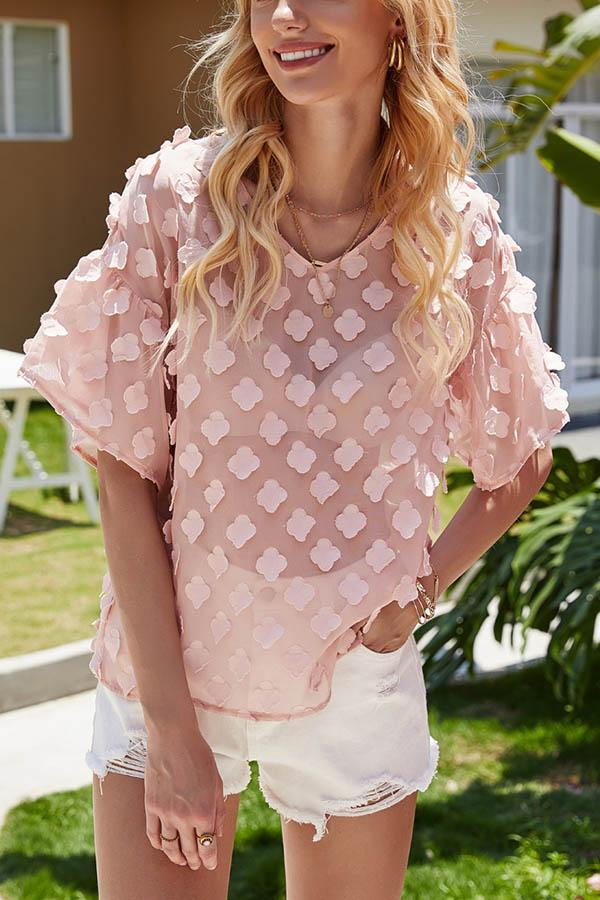 Floral Appliqued V-neck See-through Look Holiday Blouse