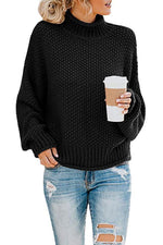 Solid Loose Turtleneck Long Sleeve Sweaters