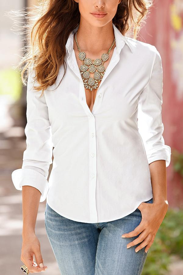 Casual Solid Lapel Collar Loose Shirt