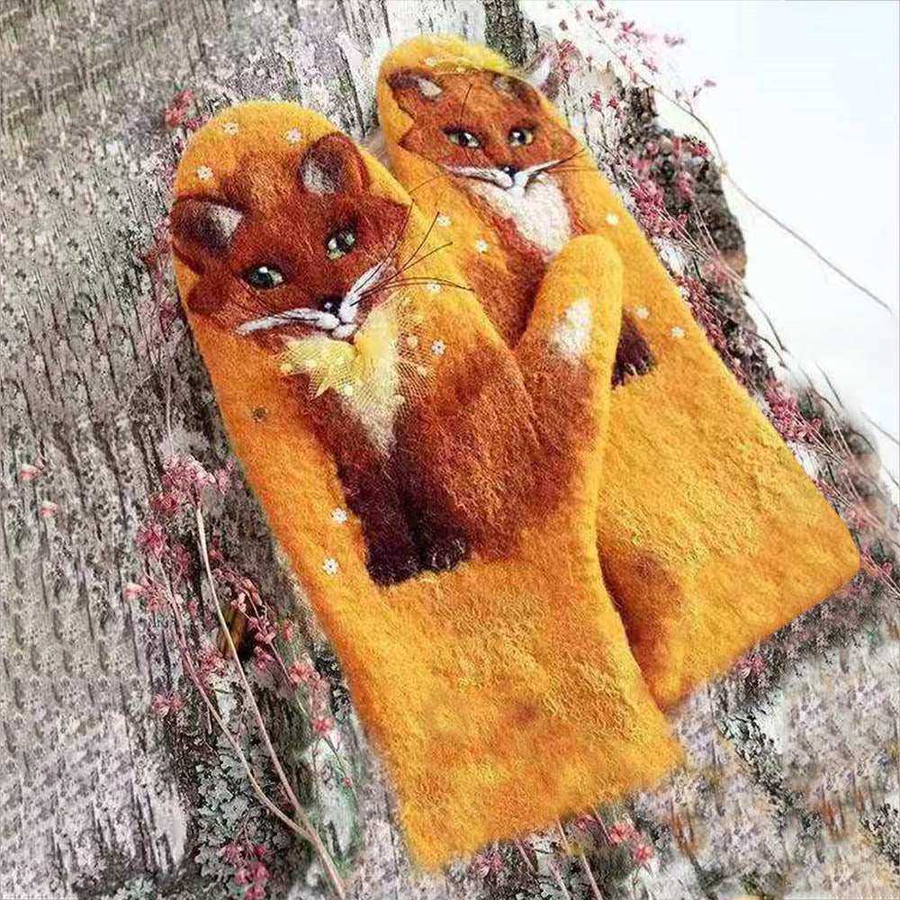 Vivid Fox Jacquard Gradient Vintage Holiday Winter Mittens Gloves