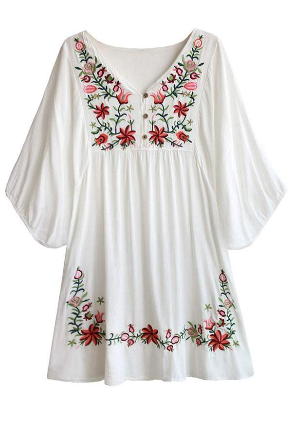 Casual Floral Embroidery Mini Dress