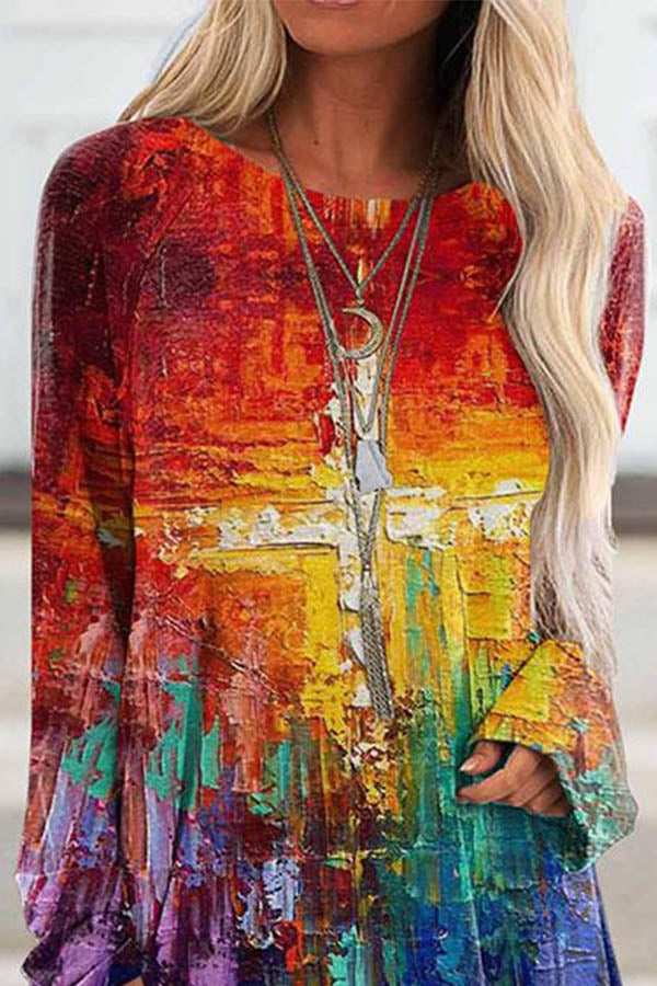 Casual Abstract Multicolor Cross Print Shift Casual Long Sleeve T-Shirt