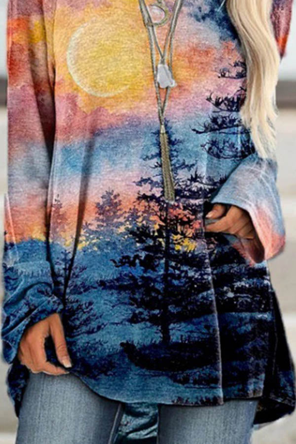 Artistic Nature Landscape Forest Gradient Watercolor Painting Print Raglan Sleeves Shift T-shirt