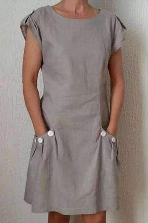 Paneled Solid Buttoned Pockets Casual Midi Dress