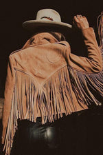 Women Vintage Trendy Moon Star Embossed Tassel Cropped Coat
