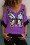 Cold Shoulder Paneled Butterfly Print Casual T-shirt