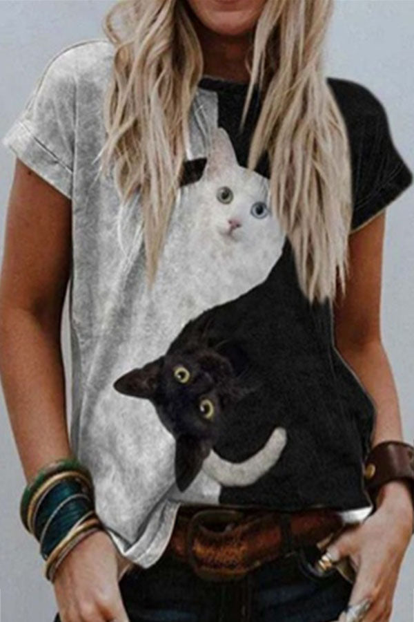 Sweety Funy Black With White Cat Print Color Block Daily T-shirt