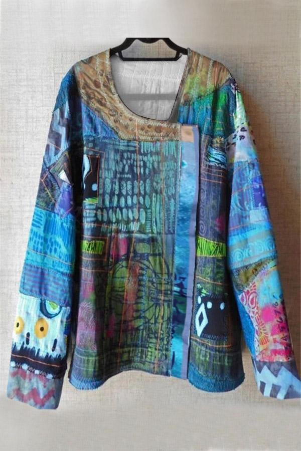 Vintage Abstract Print Long Sleeves T-shirts