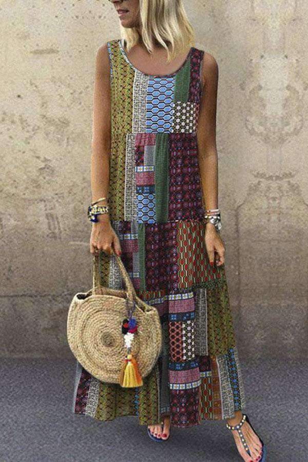 Bohemian Geometric Print Sleeveless Maxi Dress