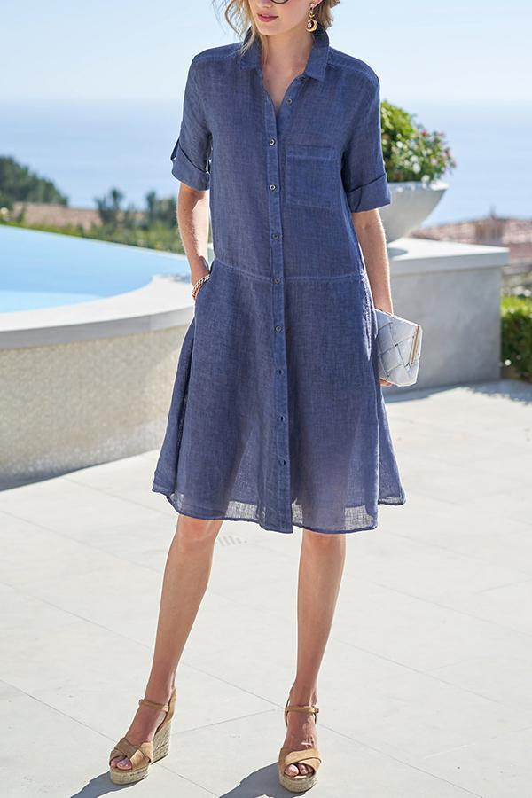 Paneled Solid Buttons Down Casual Midi Dress