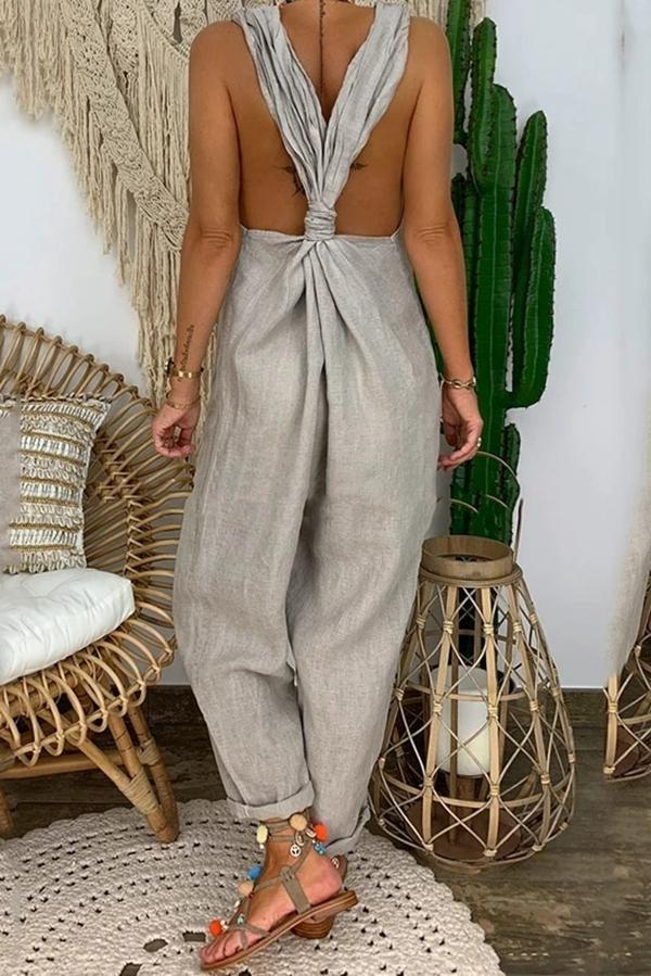 Solid Twist Backless Jumpsuit