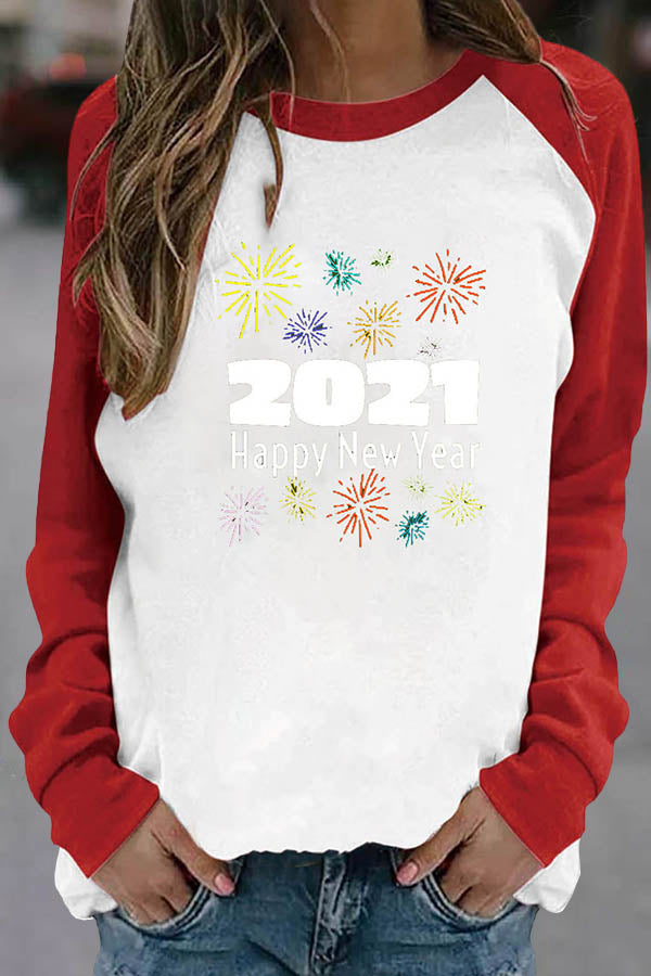 2021 Happy New Year Letter Colorful Fireworks Print Raglan Sleeves Color-block T-shirt