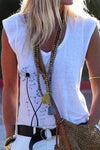 Paneled V-neck Dandelion Print Casual Tank Top