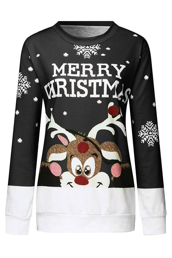 Merry Christmas Color-block Cartoon Deer Snowflake Jacquard Sweatshirt