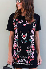 Boho Chic Floral Print Mini Tee Dress
