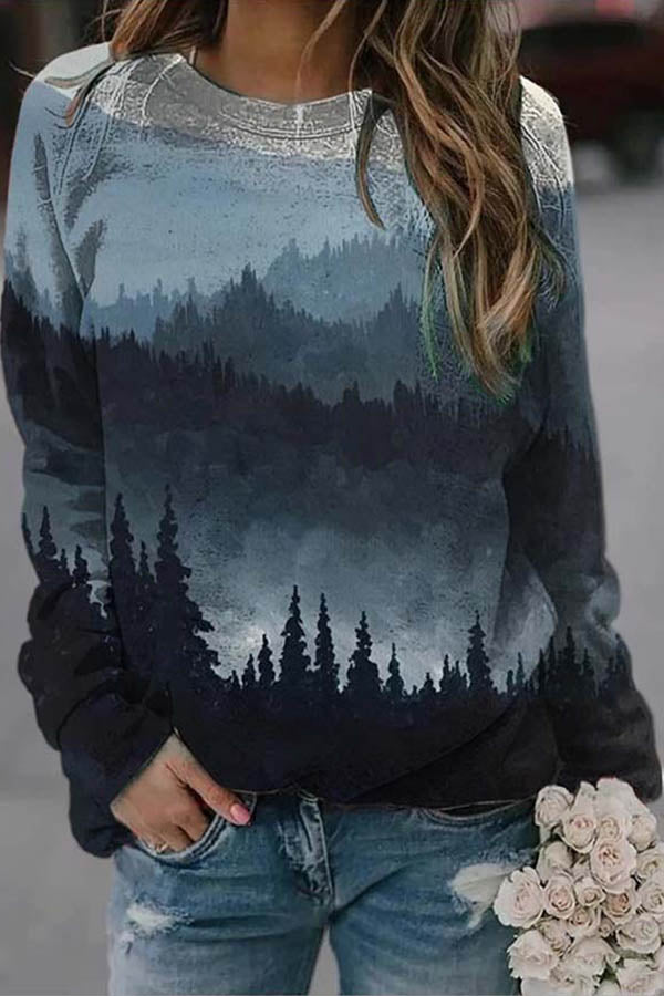 Vintage Dark Gradient Forest Treetop Mountain Nature Landscape Jacquard Sweatshirt