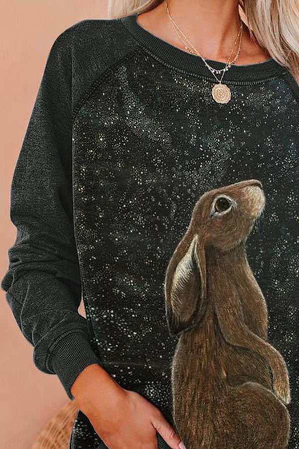 Lively Brown Rabbit With Spots Print Raglan Sleeves T-shirt