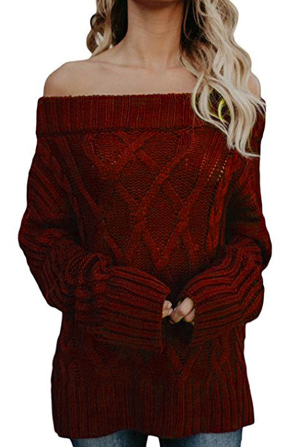 Elegant Solid Lady Off Shoulder Knitted Ribbed Tweed Sweater