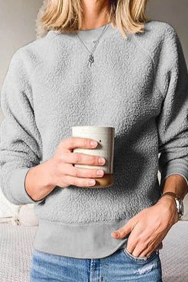 Holiday Solid Fuzzy Raglan Sleeves Shift Sweater