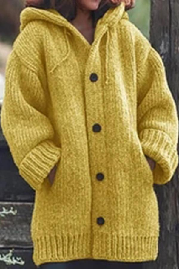 Casual Solid Pockets Buttons Down Sweater Coat