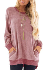 Round Collar Pocket Long Sleeved T Shirt
