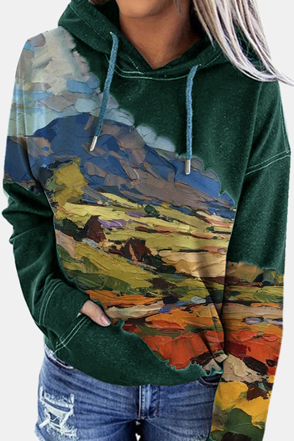 Gradient Abstract Mountain Desert Nature Landscape Color-block Hoodie