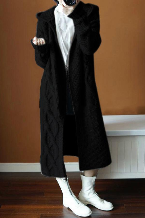 Women Overcoat Hooded Sweater Cardigan