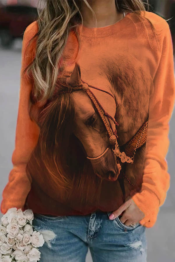 Trendy Horse With Head Down 3D Print Raglan Sleeves T-shirt