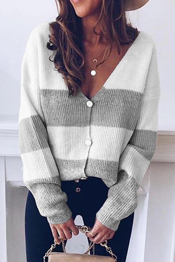 Color Block V-neck Button Knitted Sweater