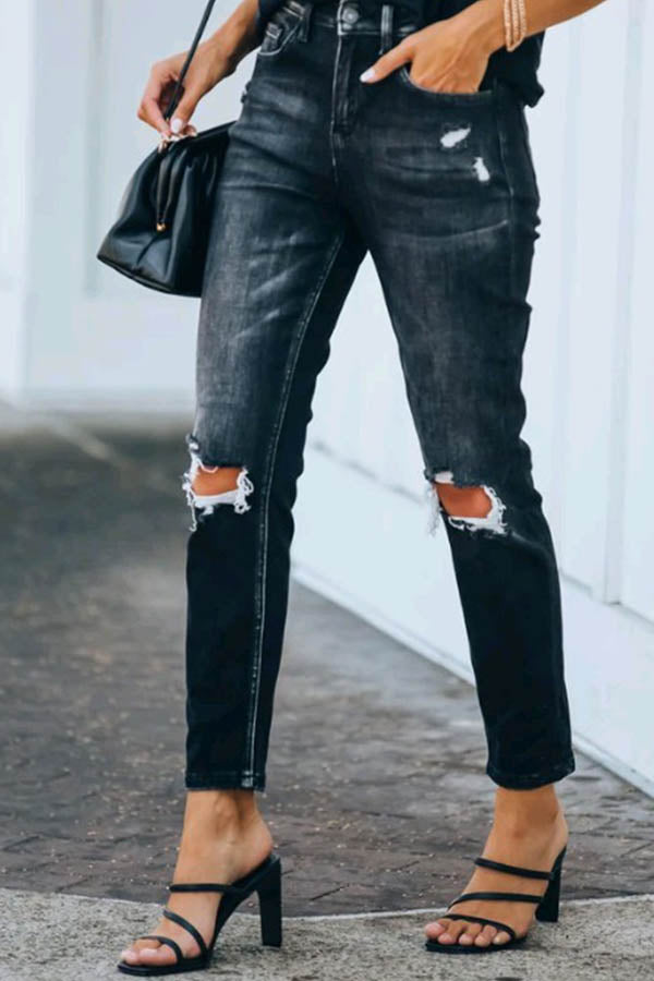 Street Fashion Solid Paneled Cutout Pockets Jeans