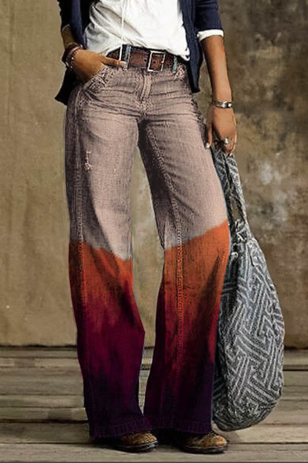 Women Vintage Color-block Gradient Print Wide Leg Jeans