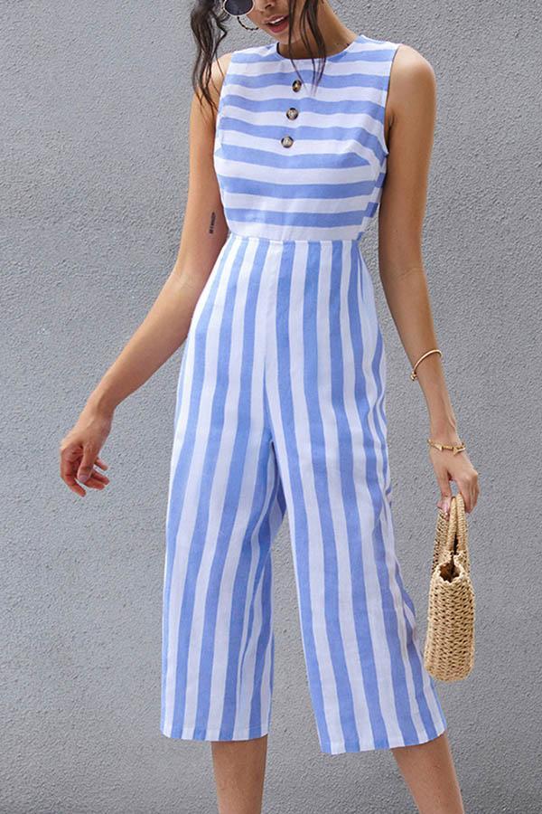 Elegant Striped Print Paneled Buttoned Sleeveless Jumpsuit