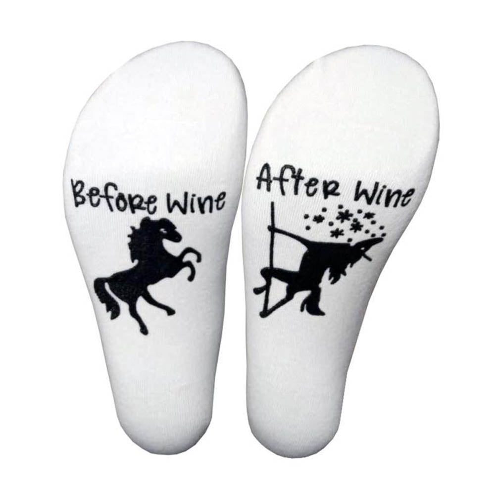 Before Wine After Wine Letter Horse Dispensing Casual Middle Socks