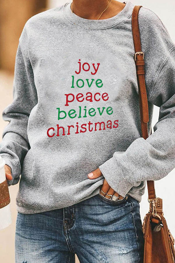 Joy Love Peace Believe Christmas Letter Tree Shape Print Simple T-shirt