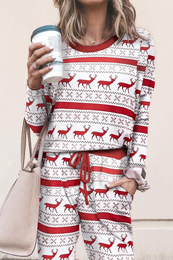 Christmas Elk Striped Print T-shirt With Pants Two-pieces Set